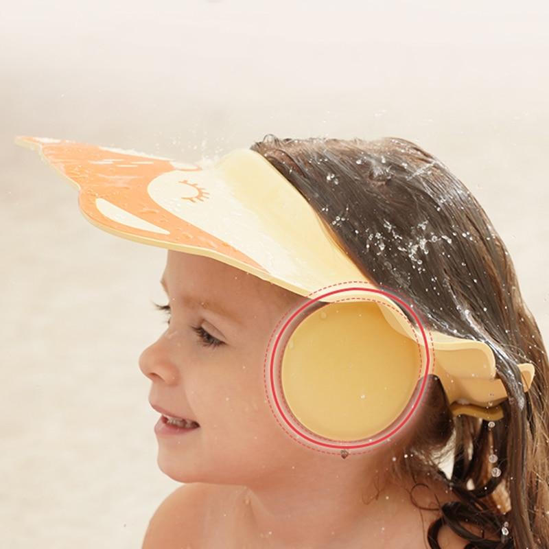 New Baby Shampoo Artifact Baby Shower Kids Bath Visor Cap Adjustable Baby Ear Protection Shower Cap Shampoo Cap