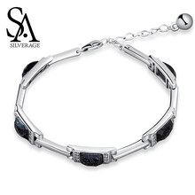 SA SILVERAGE Bracelets Bangles 925 Sterling Silver Rectangle Stone Chain 925 Silver Chain Link Bracelet Chain & Link Bracelets fnj 925 sterling silver bracelets natural yellow green stone synthetic blue red corundum 17 3cm s925 thai silver chain bracelet