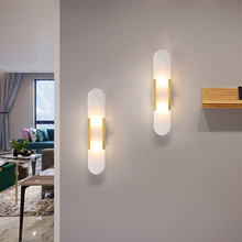 Современные Мраморные светодиодные настенные лампы художественный