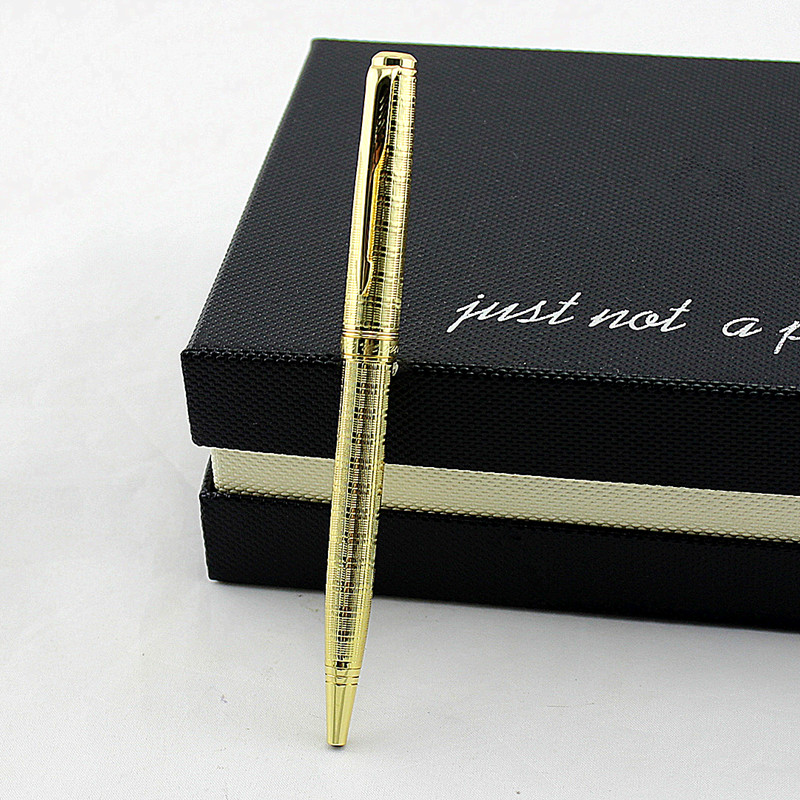 Business Office Metal Ballpoint Pen High-end Gold 0.7mm blue Ink Business Signature Pens with Gift Box Writing Stationery