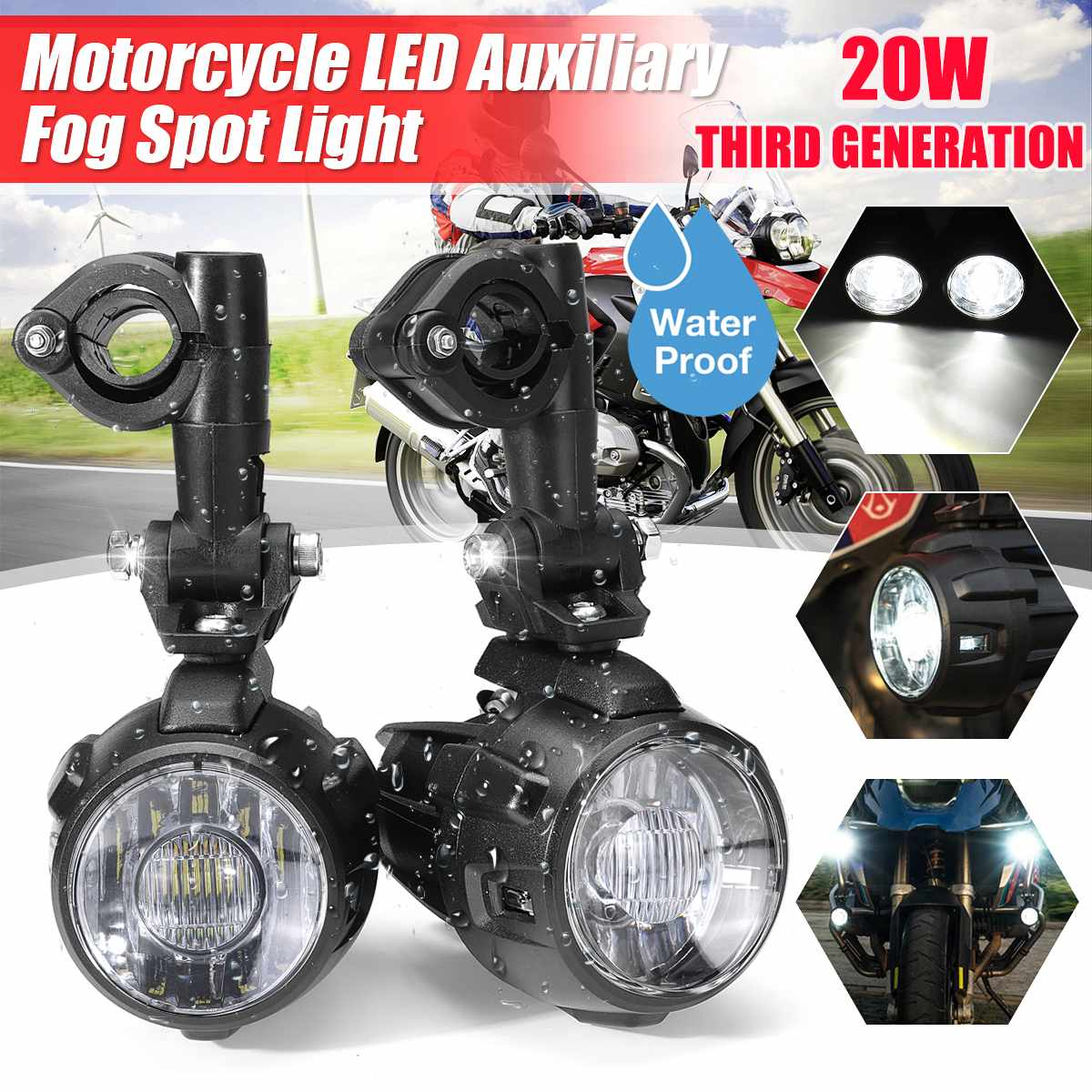 Pair Motorcycle LED Spot Light Fog Lamps Auxiliary Fog Light Driving Lamp 3rd Gen For BMW R1200GS F800GS
