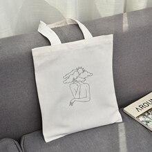 Tote-Bag Art-Handbags Canvas Hand-Print Travel Funny Ladies Creative Casual Fashion Unisex