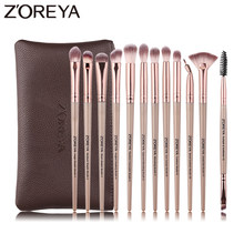 Zoreya Makeup Brush Sets Eye Shadow Crease Eyeliner Small Fan Brushes 12pcs Essential Eye Soft Synthetic Hair Blending
