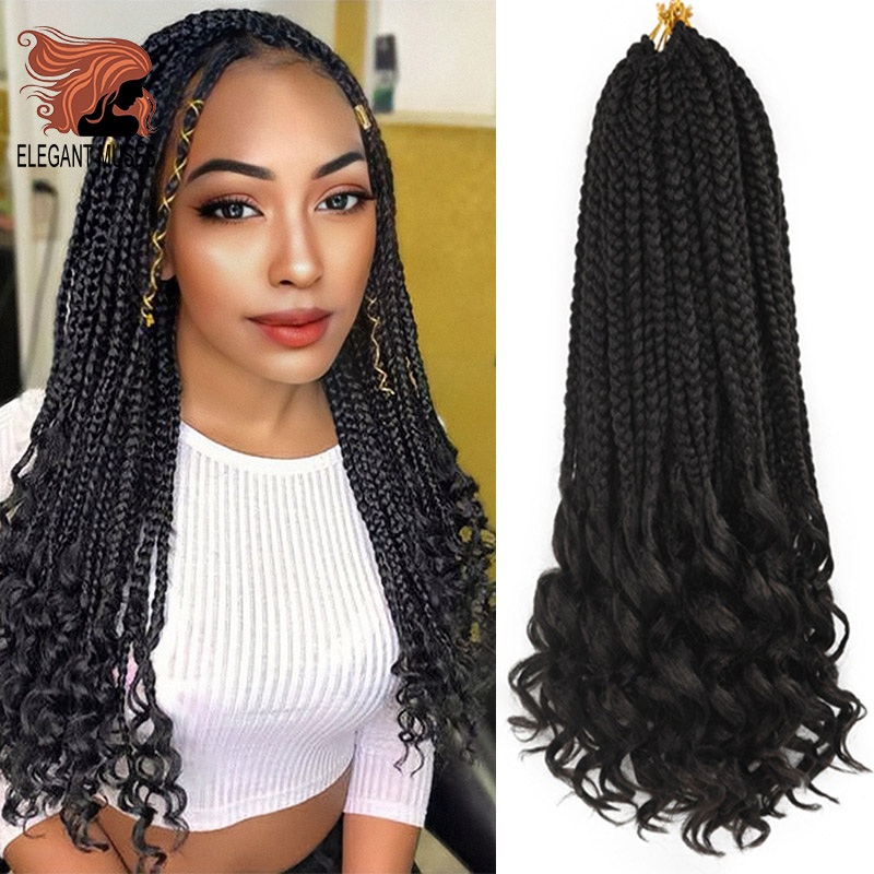 ELEGANT MUSES 24Inch Goddess Box Braids Crochet Braid Hair Extensions 22 Roots Ombre Synthetic Box Braids With Wavy Free End