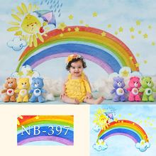 NeoBack Rainbow Blue Sky White Clouds Photo Background Newborn Baby Kids Birthday Photographic Backdrops For Studio