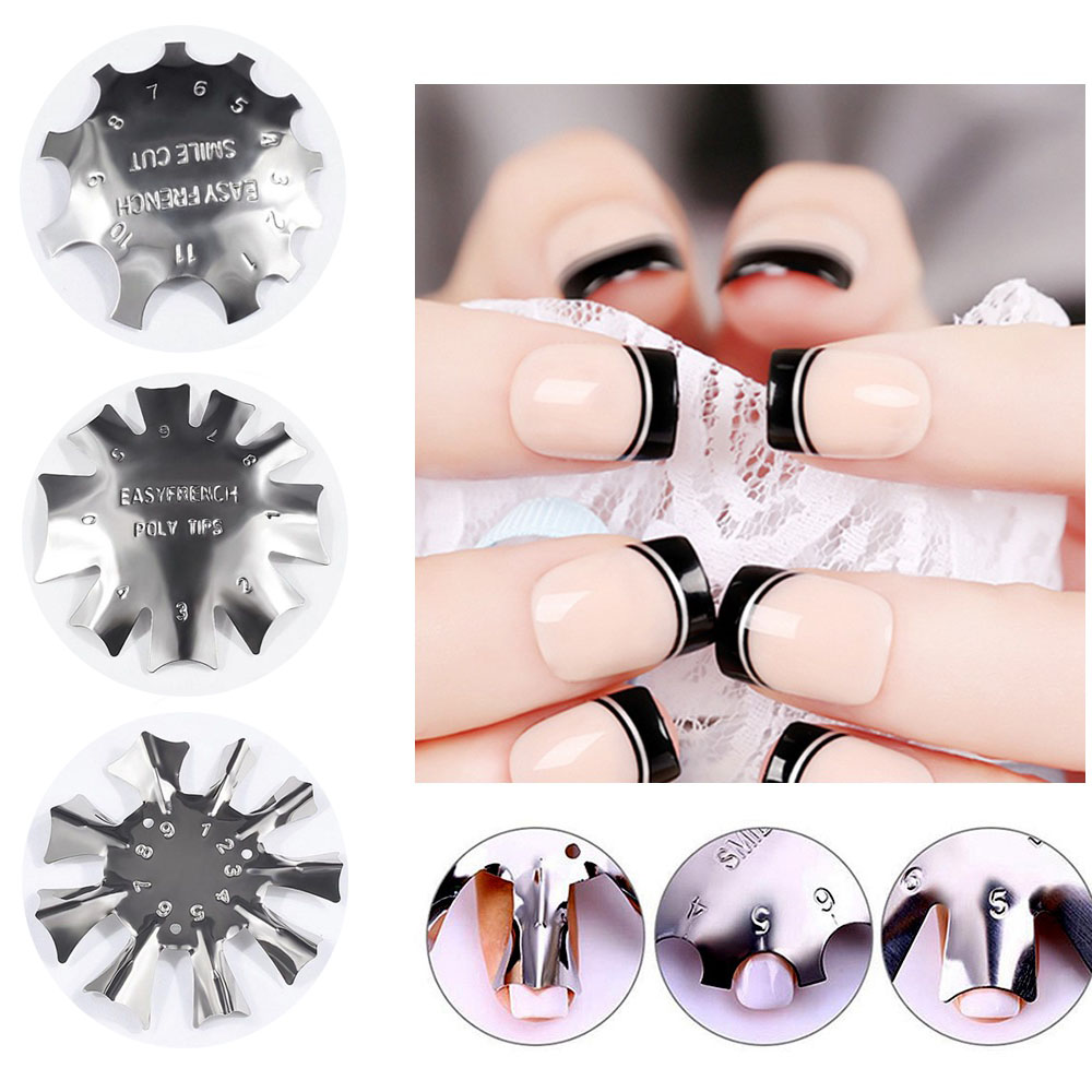 Easy French Line Edge Nail Tool Cutter Nail Stencil Edge Trimmer Multi-size Nail Manicure Nail Art Styling Tool