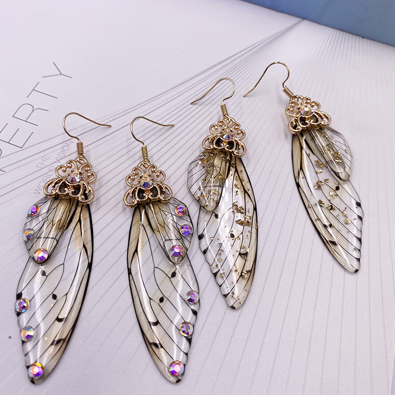 New Handmade Fairy Simulation Wing Earrings Insect Butterfly Wing Drop Earrings Foil Rhinestone Earrings Romantic Bridal Jewelry
