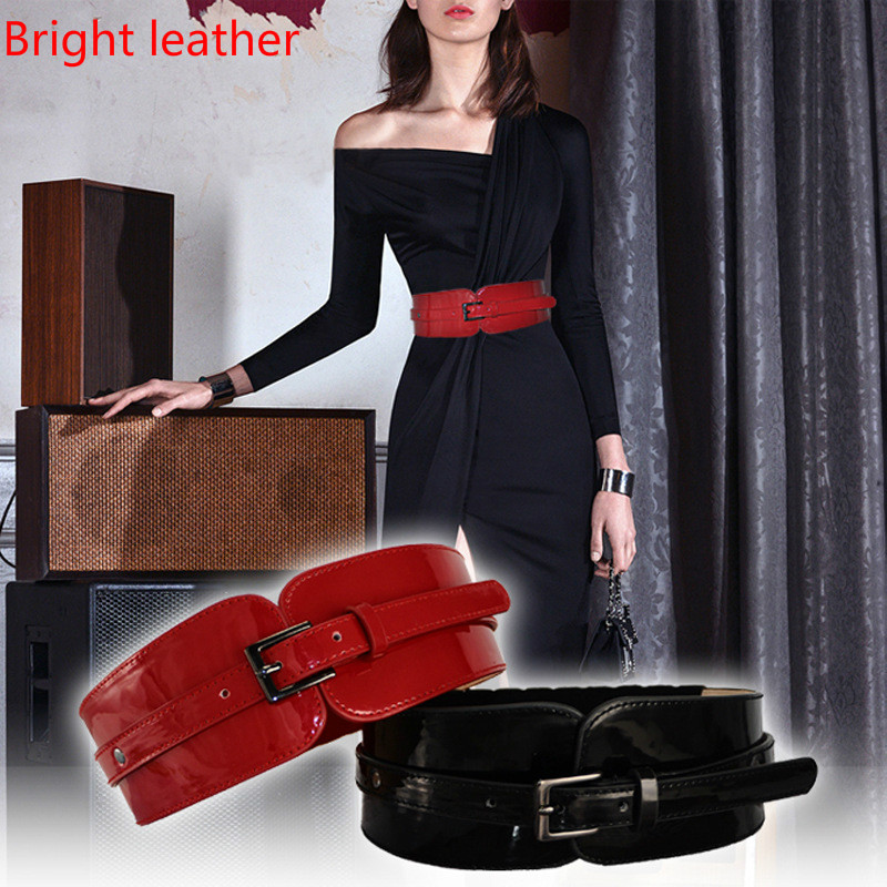 Bright  Women Bright Leather Genuine Leather Belt Versatile Dress Skirt With Black Red Waist Sealing Suitable For 65-90cm Waist