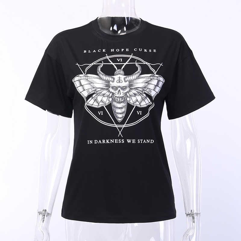 Gothic Zwarte Vrouwen O-hals Korte Mouwen Slim Brief Mot Demon Print Tops 2020 Zomer Gont Vrouwelijke Streetwear Hip Hop Dark t-shirt