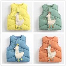Coats Down-Vests Outerwear Duck-Design Warm Girls Baby-Boys Kids Winter Solid Menoea