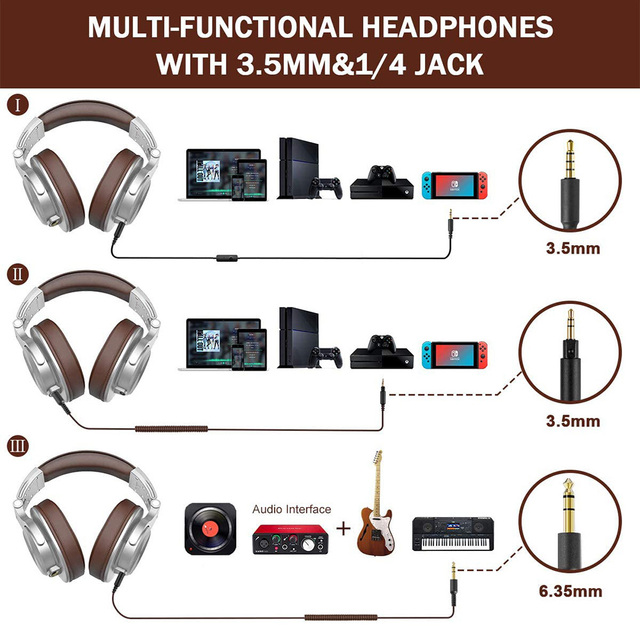 Oneodio A71 Wired Headphones For Computer Phone With Mic Foldable Over Ear Stereo Headset Studio Headphone For Recording Monitor 6