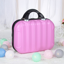 14inch Makeup Cosmetic Bag Portable Suitcase Small Waterproof Travel Organizer Hard Vanity Case Vertical Striped Practical