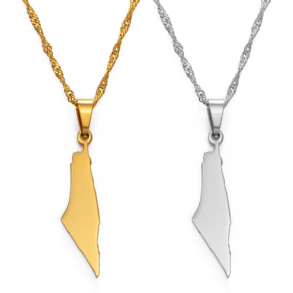 Женское ожерелье с подвеской Anniyo Israel и Palestine, серебряный цвет/золотой цвет, ювелирные изделия #147721