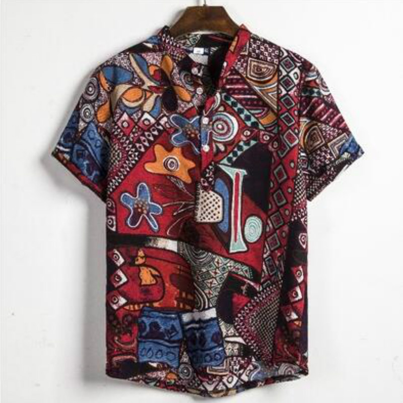 Hawaiian Shirts Linen Shirts Men Lump Chest Button Short Sleeve Round Hem Casual Loose Shirts Tie Henley Men Shirt Summer Tops
