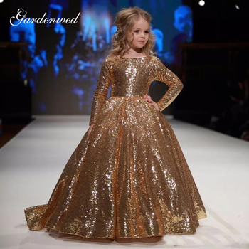 Gold Sequin Lace Flower Girl Dresses Boat Neck Long Sleeves Girls Pageant Dresses A-Line Long Tulle Baby Wedding Party Dress long sleeves boat neck bodycon womens dress