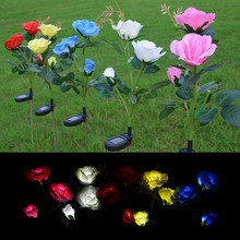 2Pcs/Lot Waterproof Solar Powered Multicolor 3LED Rose Light Outdoor Garden Yard Lamp Festive Party Romantic Decoration