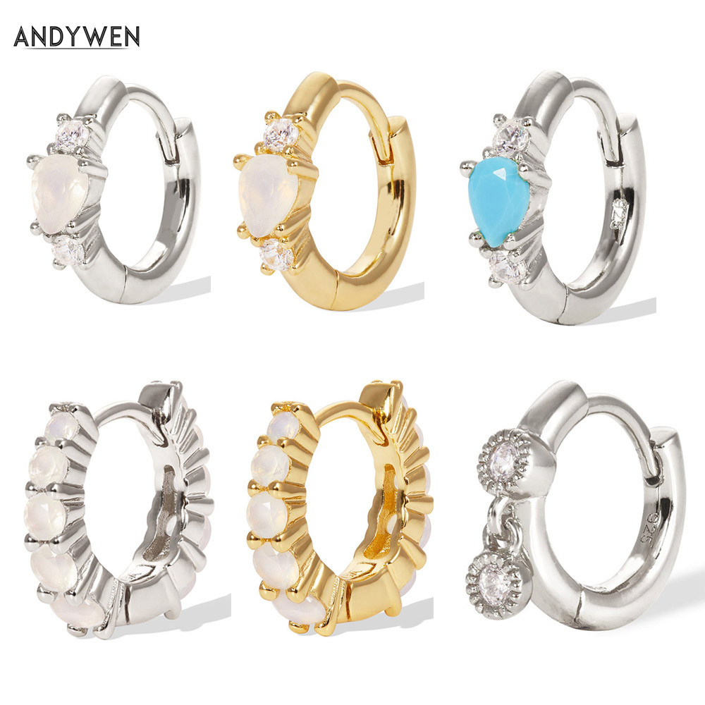 ANDYWEN 925 Sterling Silver Gold Opals Middle Hoops Huggies Loops Single Circle Round Earring Jewelry For Women 2019 Fashion