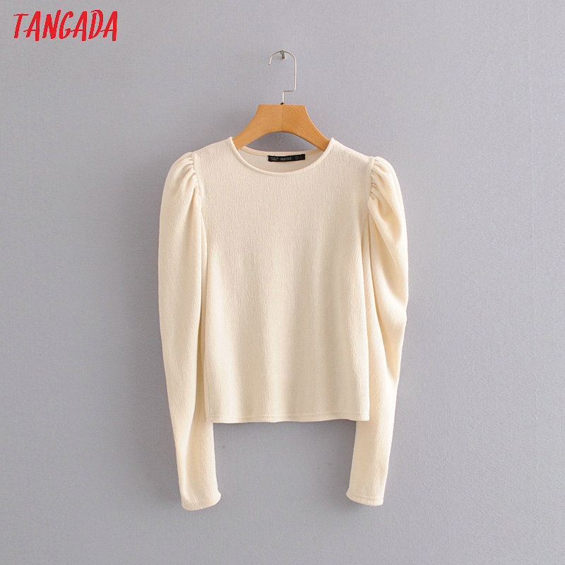 Tangada Korea Chic Women Beige Vintage Puff Long Sleeve Sweater O Neck Ladies Casual Knitted Jumper Tops HY195