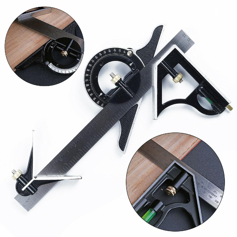 300MM Professional Carpenter Tools Combination Square Angle Ruler Stainless Steel Protractor Multi-function Measuring Tool