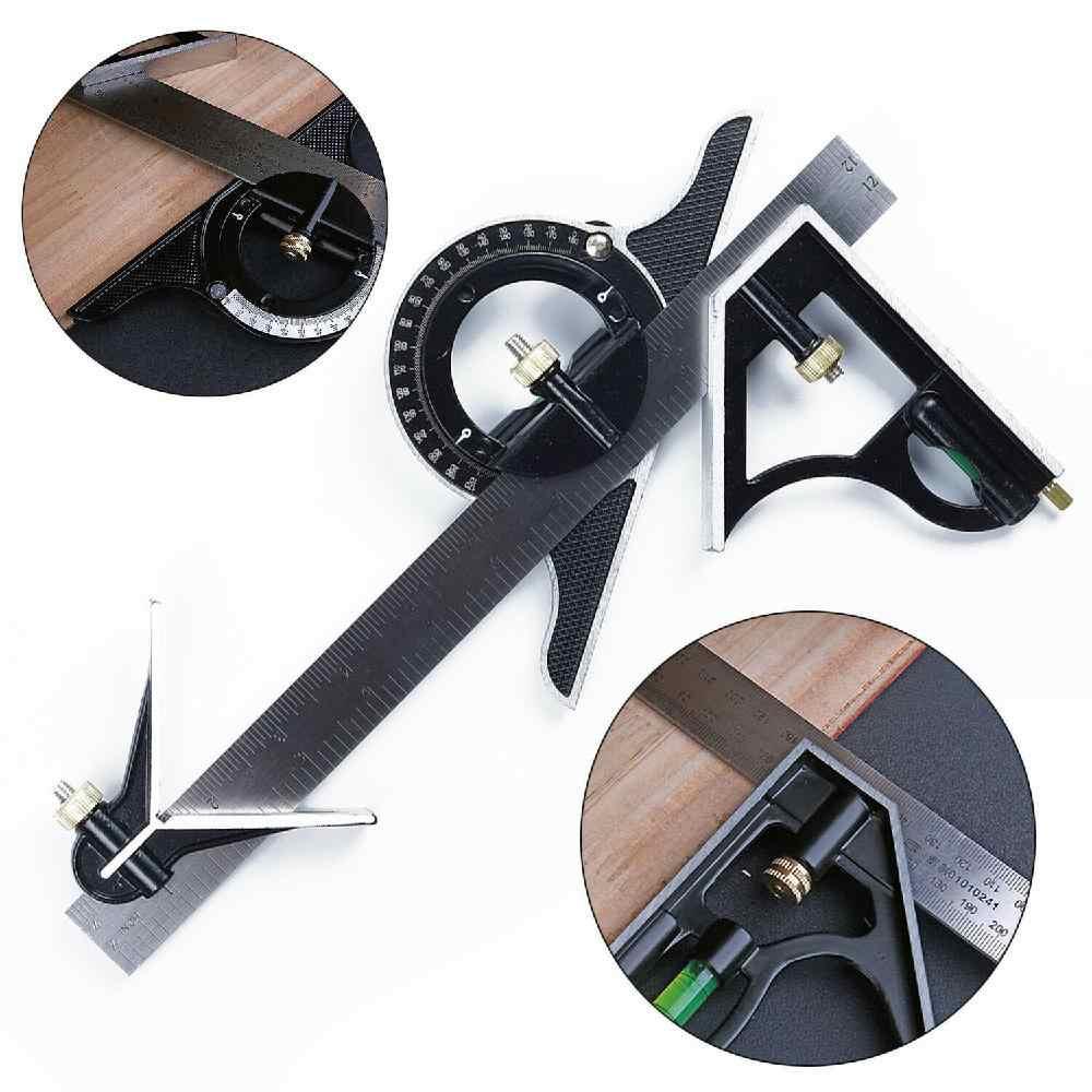300MM profesyonel marangoz araçları Kombinasyonu Kare Açı Cetvel Paslanmaz Çelik iletki Çok fonksiyonlu ölçme aracı