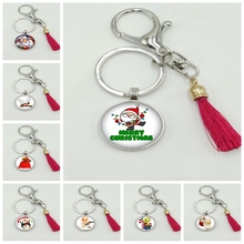 2019 New Santa Claus and Deer Series Glass Cabochon Tassel Keychain Fashion Jewelry Christmas Gift