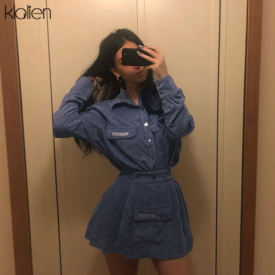 KLALIEN Autumn Women Turn-down Collar Shirt + Skirts 2019 New Lady Casual Streetwear Mini Skirts Wild Slim Tops 2 Pieces Sets