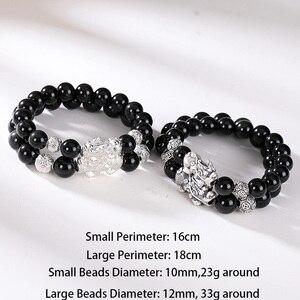 Image 2 - Siyah obsidiyen taş bilezikler el aksesuarları ile erkekler için gerçek gümüş Pixiu Feng Shui kristaller takı kol bandı Heren