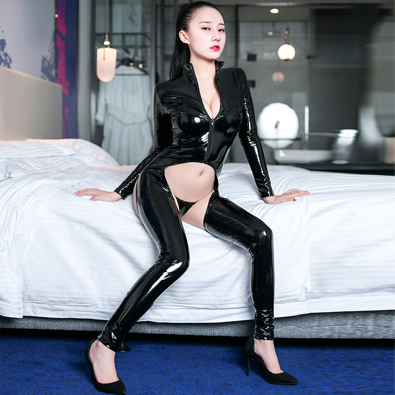 Night Club Sexy PVC Leather Cosplay Party Bodysuit Back Hollow Out Adjustable Up Jumpsuit Hips Hollow Out With Thong Bodysuits