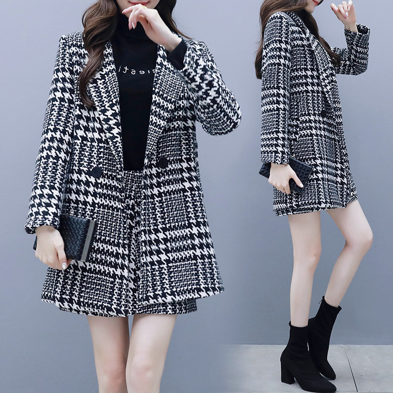 Women's skirt sets 2019 new autumn slim double-breasted plaid women's jacket suit Female office bag hip skirt suit Two-piece set