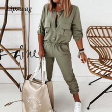 Sexy Turn-down Collar Button Jumpsuit Women Fashion Solid Elastic Waist Overalls Playsuit Summer New Slim Fit Cargo Pants Romper