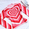 Y2K aesthetic heart stripe turtleneck e girl cute long sleeve sweater hot pink Harajuku 90s  sweaters for women 6
