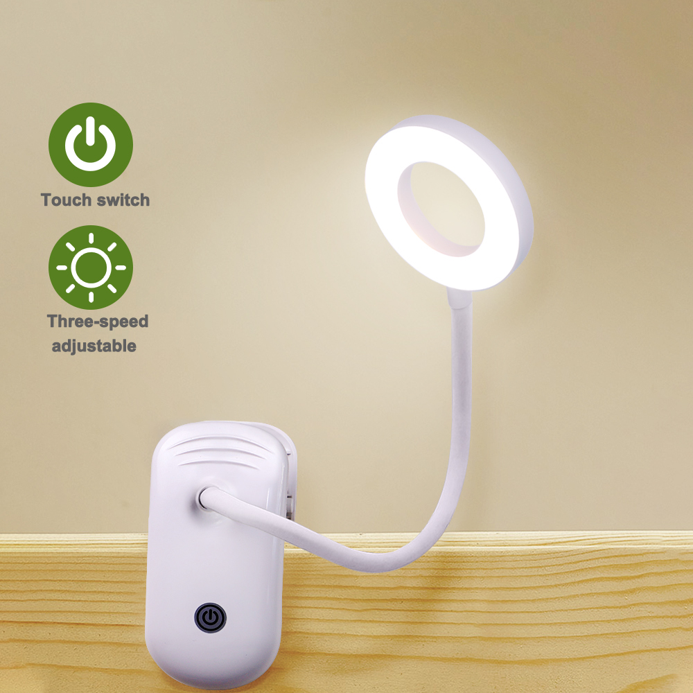 LED Touch On/off Switch 3 Modes Clip Desk Lamp 7000K Eye Protection Reading Dimmer Rechargeable USB Led Table Lamps
