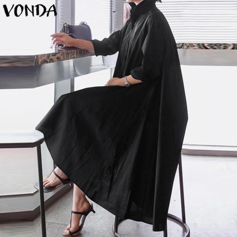 VONDA Office Ladies Dress Women Sexy Turn-down Collar Asymmetrical Party Dress Summer Sundress Casual Loose Vestido Plus Size