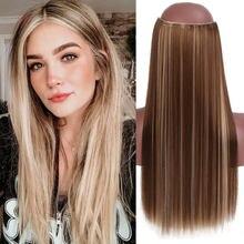 MSTN – Extensions de cheveux lisses, postiche synthétique Ombre noire naturelle Blonde rose, faux postiche une pièce