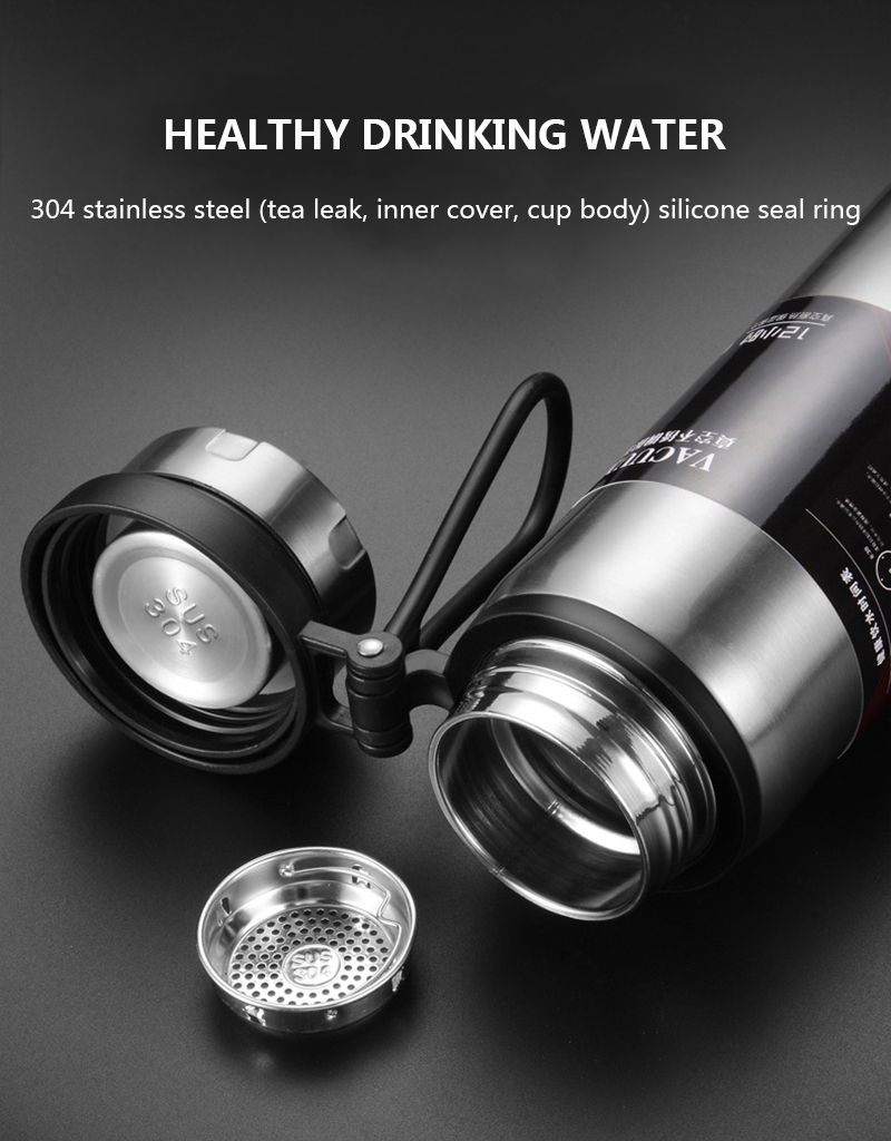 H57be23a85e9046f68e44a8621a8c35725 Sports bottle 800ML / 1000ML large capacity double stainless steel thermos outdoor travel portable leak-proof car vacuum flask