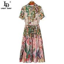 LD LINDA DELLA 2021 Summer Fashion Loose Vintage Long Dress Women Turn-down Collar Belt Star print Elegant Vacation Dress