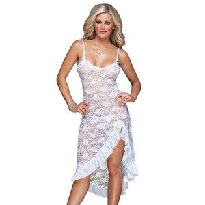Image 3 - Robe longue, lingerie sexy, en dentelle, grande taille, M,XL,XXXL,XXXXL, ficelle, robe de nuit, bretelles pour la maison, pour lété, S 6XL