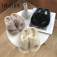 Women Slippers Fashion Solid Color Peep Toe Fur Slippers Woman Casual Shallow Flat Shoes NIUFUNI Winter Slides Shoes For Women new arrival feather fur slippers women peep toe colorful rhinestone diamond flat shoes woman gladiator sandals