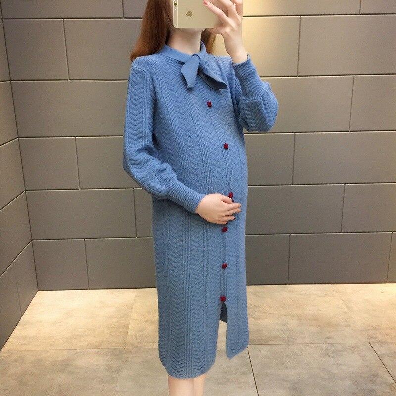 Maternité pull robe longue tricoté enceinte pull automne mode chaud chandails pour femmes enceintes hiver vêtements enceintes