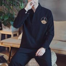 Loldeal V-neck Long-sleeved T-shirt Chinese Style Embroidery Casual Mixed Cotton Soft Men
