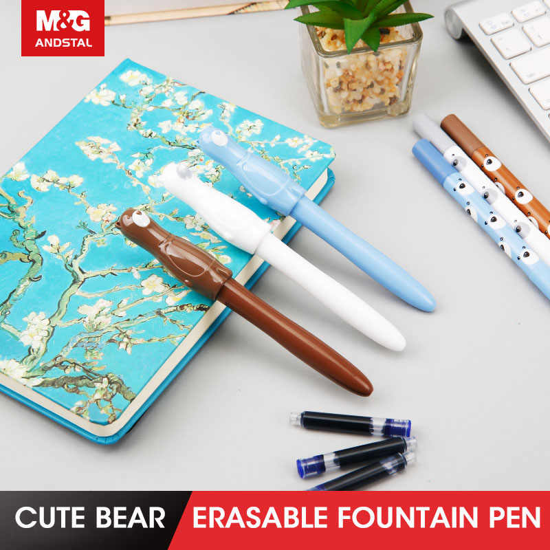 M & G หมีน่ารัก Erasable น้ำพุปากกาชุดหมึกปากกา Caligraphy Fountain ปากกาสำหรับเด็กอุปกรณ์สำหรับโรงเรียนเครื่องเขียน andstal