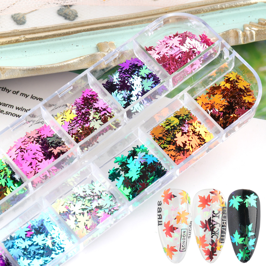 Fall Nails Glitter Flakes Sequins Maple Leaf Dazzling Mirror Sheet Sticker for Manicure Nail Decor Paillette (8)