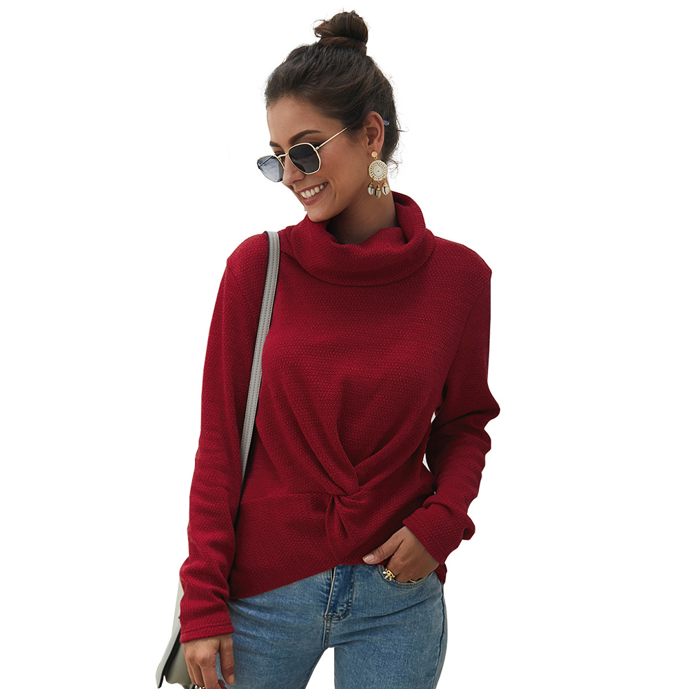 Fashion chic solid color sweater new high collar women