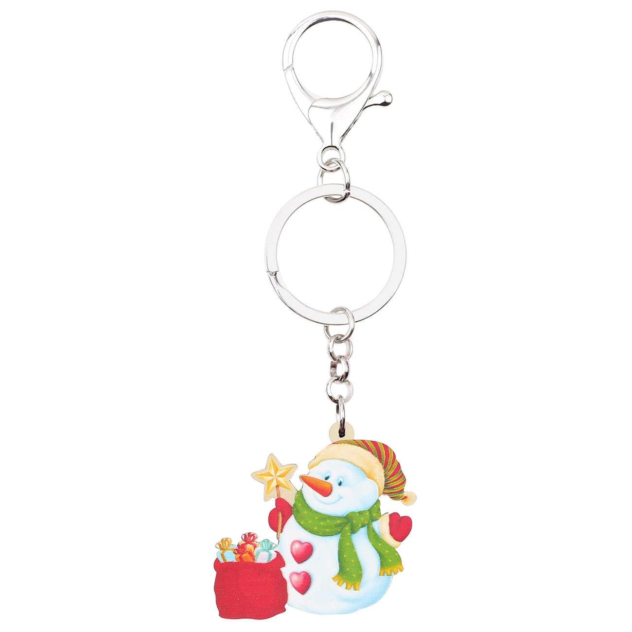 WEVENI Acrílico Verde Cachecol do Boneco de neve de Natal Saco Do Presente Chaveiro Keychain Presente Encantos Carro Carteira Chave Dos Desenhos Animados Anéis Para Lady menina