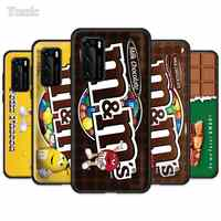 M&M's Chocolate Nutella Bottle Case for Huawei P30 P Smart Z Y6 Y7 Y9 2019 P40 P20 Pro Y8p Y6p Mate 20 Lite Y9a Black TPU Cover