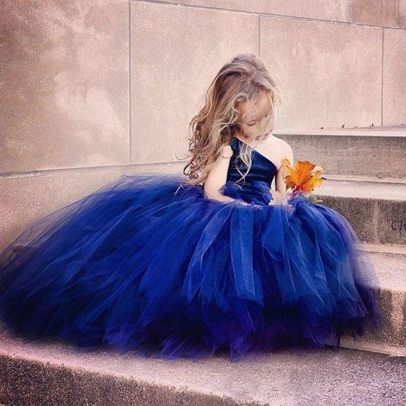 2015 une épaule bleu fleur filles robes de bal robe pour la fête de mariage Pageant robes petites filles de fleurs robe de bal enfants