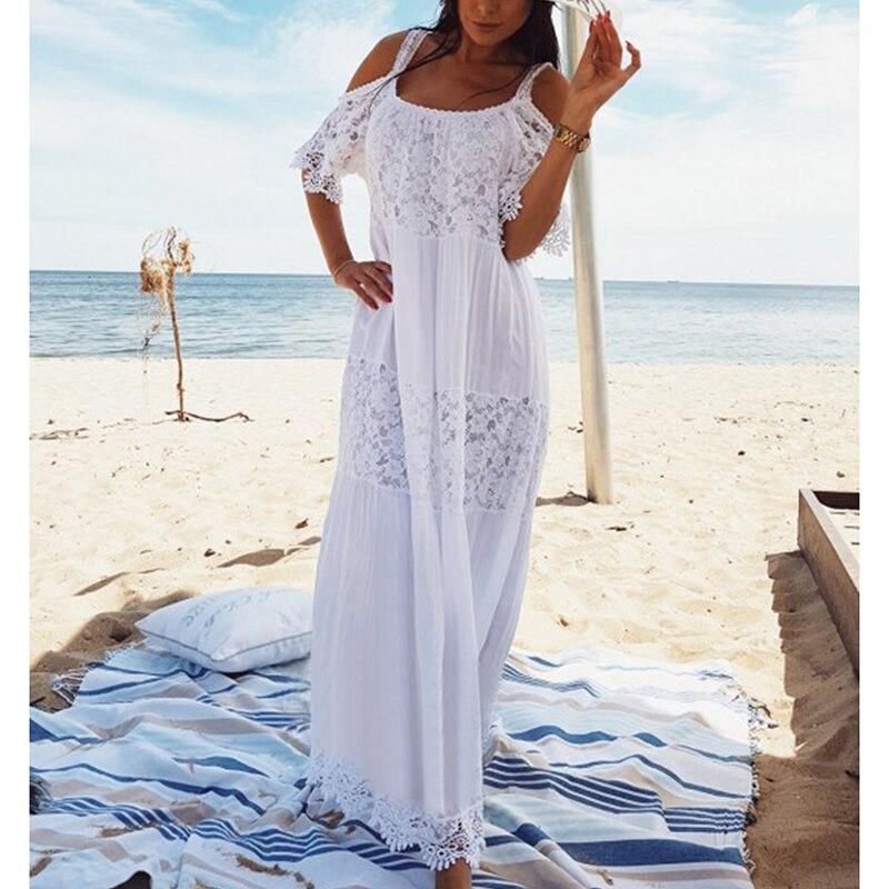 2020 Maxi Bohemian Dress Lace Cotton Patchwork Long Plus Size White Sexy Dress Off Shoulder Women Summer Dress Elegant Vestidos