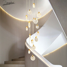 Nordic LED Light Luxury Crystal Lamp Villa Hotel Loft Duplex Chandelier Modern Dining Living Room Staircase Light Deco Luminaria staircase long chandelier modern minimalist solid wood villa entrance atmosphere nordic living room creative bar duplex building