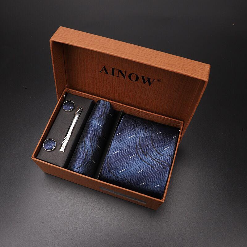 Набор галстуков 4 шт. мужской цветочный галстук для шеи клетчатый галстук подарок свадебный красный полосатый 8 см темно-синий жаккардовый тканый черный однотонный Камуфляжный ящик - Цвет: NO box 38