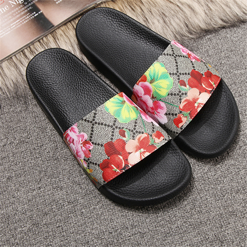 Enplei Summer Women Slippers Luxury Leather Star Floral Roman Sandals Outdoor Non Slip Beach Shoes Size 36 45|Slippers| - AliExpress